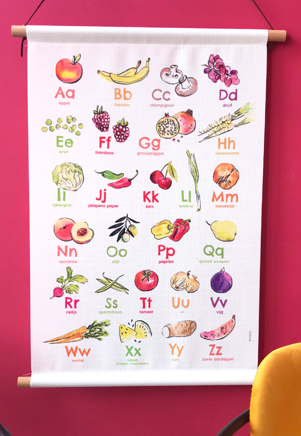 Fruit abc textielposter