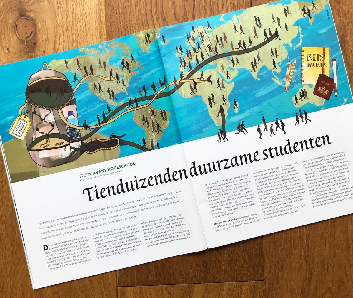 illustratie wereldkaart tijdschrift