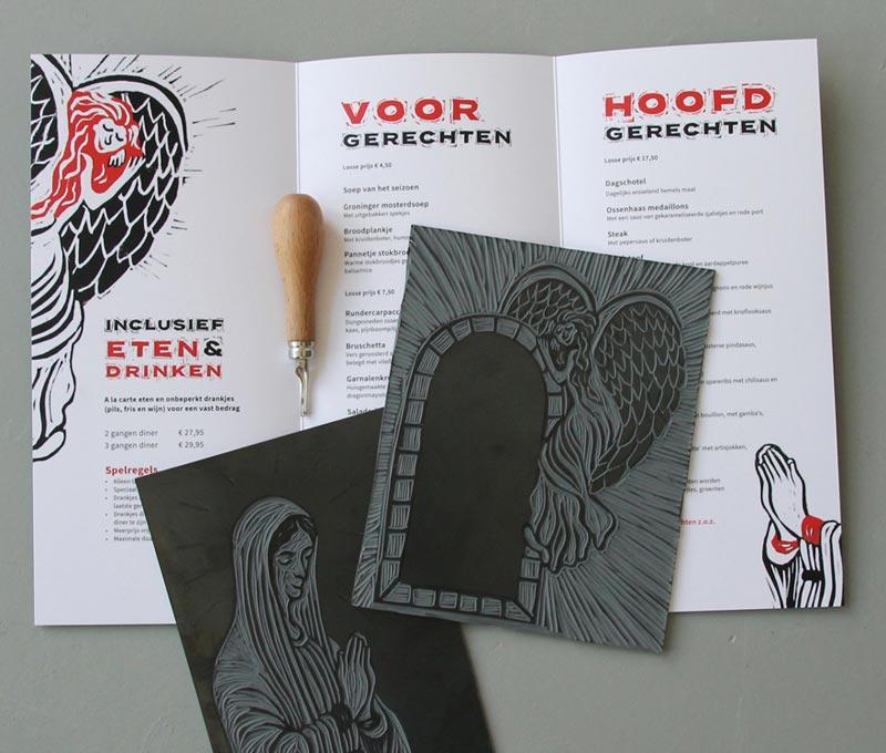 Lino afdrukken ontwerp menukaart