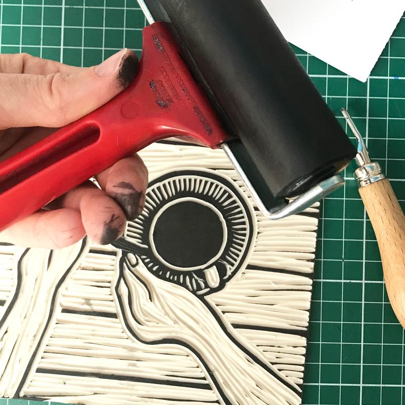 Lino afdruk maken