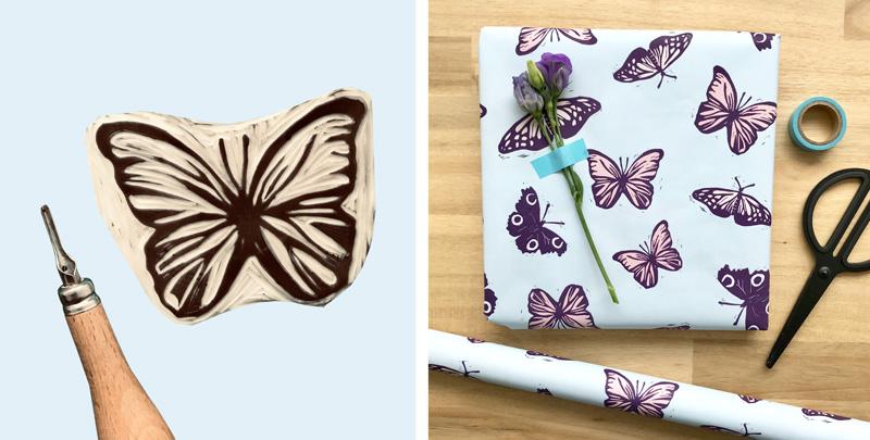 Vlinders inpakpapier ontwerp