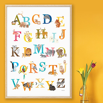 Alfabetposter met dieren
