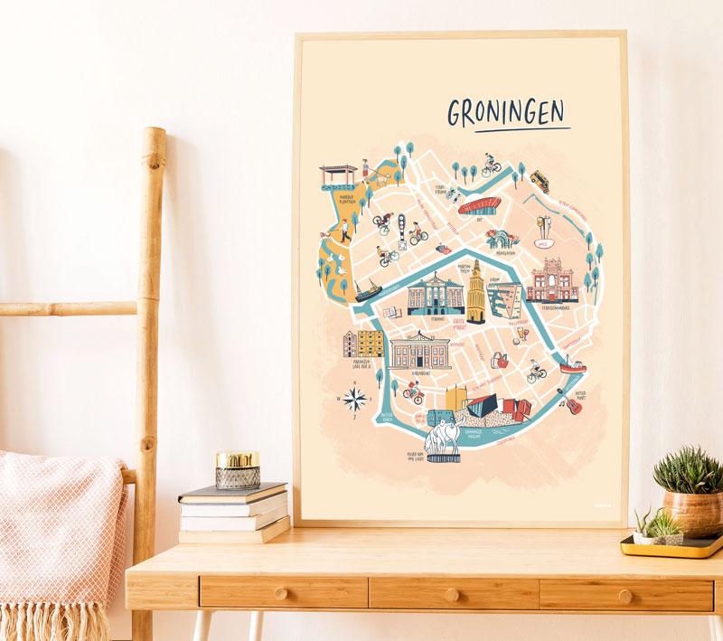 Illustratie plattegrond Groningen